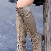 Over the Knee Lace Up Boots (Beige)