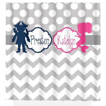 Pirate Mermaid SHOWER CURTAIN Ocean Monogram Personalized Hot Pink Navy Gray Brother Sister Bathroom Beach Towel Plush Bath Mat