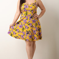 Plus Size Floral Sweetheart Dress | UrbanOG
