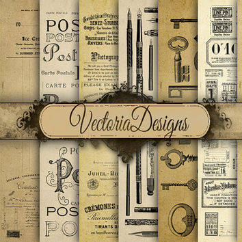 Vintage Office Stuff Paper 12 x 12 inch paper pack digital paper instant download digital collage sheet VD0490