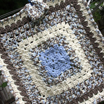 Warm Baby boy blanket hat crochet afghan in blue off white and brown 2 piece newborn gift set 0-3 months photo prop
