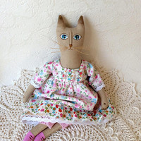 Primitive cat Textile doll Interior Cat Interior doll Unique gift rag doll  Kids room Fabric doll