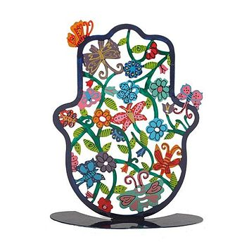 Large Hamsa - Stand- Hand Painted - Butterflies