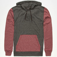 Retrofit Sierra Mens Lightweight Henley Hoodie Burgundy  In Sizes