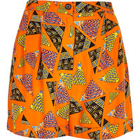 River Island Womens Orange retro print high waisted shorts