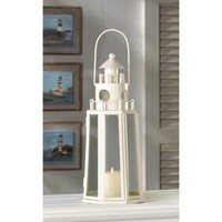 Lighthouse Nautical Decor Ivory Finish Candle Lantern