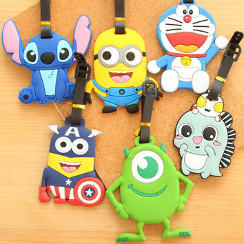 1PC Travel Large Luggage Tag Cute Cartoon ID Tag Silica Gel Suitcase Baggage Boarding Tags Portable Travel Luggage Tag Label