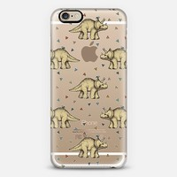 Tiny Triceratops & Teeny Triangles on Transparent iPhone 6 case by Micklyn Le Feuvre | Casetify