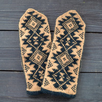 Mustard and Black Wool Mittens - Aztec Pattern Gloves - Fall Accessories - Winter Gloves - Knit Wool Mittens - Christmas Gift nO 113.