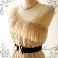 Amor Dress Vintage Inspired Princessll Beige One by Amordress