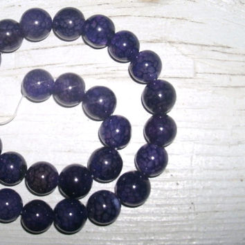 Purple Dragons Vein 12mm beads, round beads, full strand of 38 beads, polished agate beads, color enhanced, jewelry supply, beads for crafts