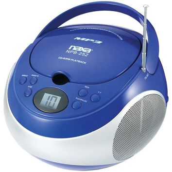 Naxa NPB252BL Portable CD-MP3 Players with AM-FM Stereo (Blue)