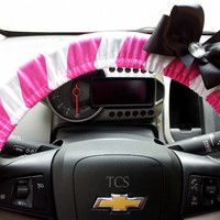Pink and White Chevron Steering Wheel Cover with Bow