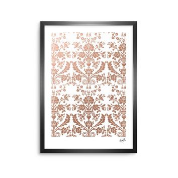 "KESS Original ""Baroque Rose Gold"" Abstract Floral Framed Art Print"