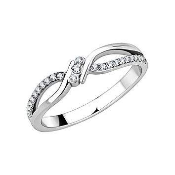 Pure - Women's Stainless Steel CZ Criss Cross Ring