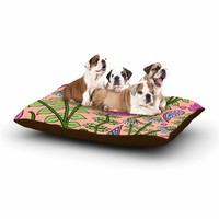 """Sarah Oelerich """"Peach Floral Paisley"""" Pink  Green Dog Bed"""