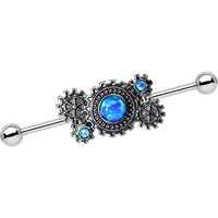 Blue Synthetic Opal Steel Get in Gear Industrial Barbell 38mm