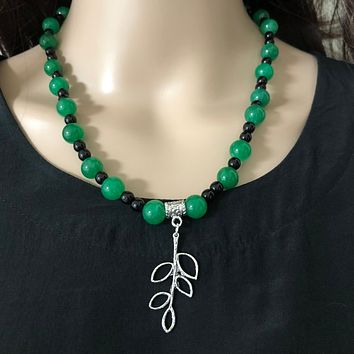 Green Agate and Black Onyx Beaded Necklace With Silver Leaf Charm