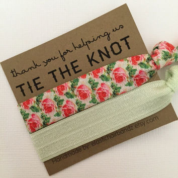 Thank you for helping us tie the knot - Wedding Favors - Hair Tie Favor - Bridal Party Favors - The Knot