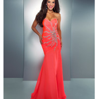 Mac Duggal Prom 2013 - Neon Coral Strapless Gown With Dazzling Embellishments - Unique Vintage - Cocktail, Pinup, Holiday & Prom Dresses.