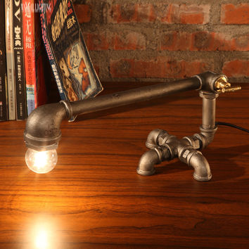 Iron Crane Horizontal Iron Pipe Designer Desk Lamp For Retro Edison