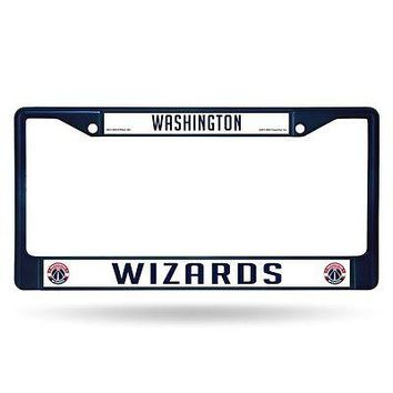 Washington Wizards NBA Licensed Blue Painted Chrome Metal License Plate Frame