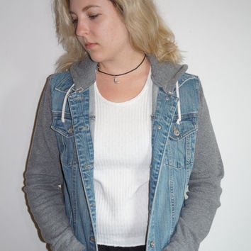 Vintage Denim Jean Jacket Combo Gray Hoodie for Fall and Winter