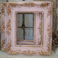 Shabby chic pink frame soft muted colors gold accent lightweight resin wall decor Anita Spero