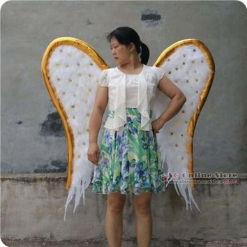 Adult Cool White Feather Angel Wings Cosplay Props Wedding Fairy Wings