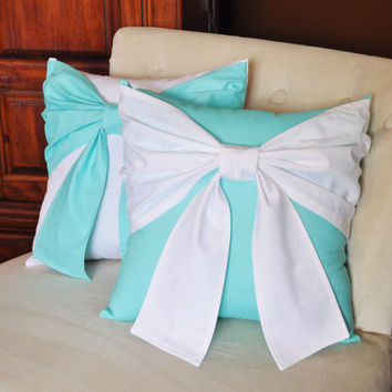 Throw Pillow Set White Bow on Bright Aqua Pillow and Bright Aqua Bow on White Pillow 14x14 -Aqua Blue Pillow-