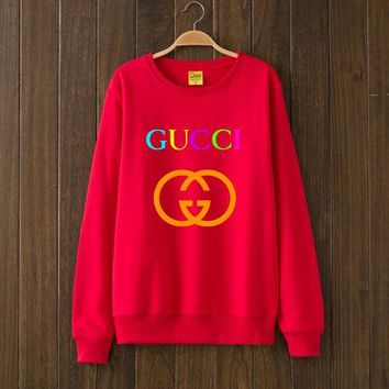 GUCCI Fashion Casual Print Woman Men Top Sweater Pullover Red G