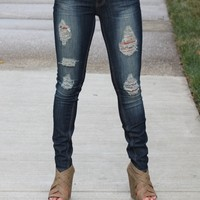Distressed Washed Skinny Jeans