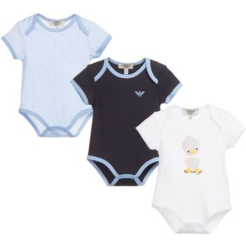 Armani Baby Boys Set of Three Rompers (Gift Set)