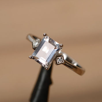 Pink morganite ring emerald cut engagement ring silver