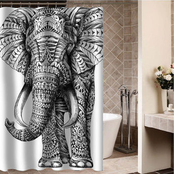 "elephant ornate Custom Shower curtain,Sizes available size 36""w x 72""h 48""w x 72""h 60""w x 72""h 66""w x 72""h"