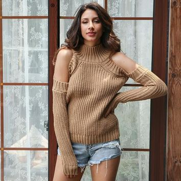 Turtleneck Off Shoulder Knitted Pullovers Cut Sleeve Sweater Winter Casual Jumper