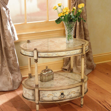Artists' Originals Barrington Tuscan Cream Hand Painted Oval Accent Table