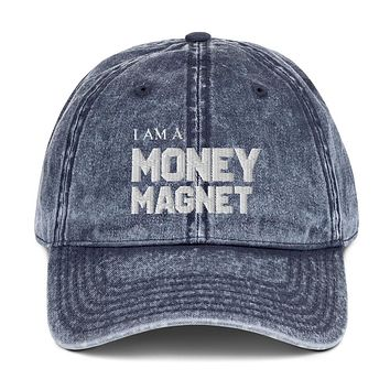 """"""" I AM A MONEY MAGNET""""   Positive Motivational & Inspiring Quote Embroidery Vintage Cotton Twill Cap"""