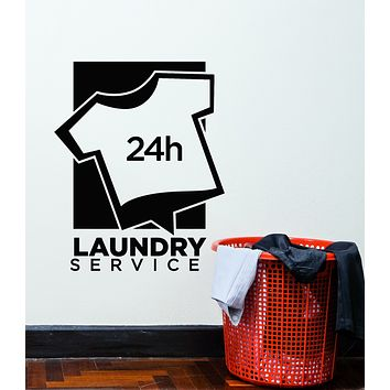 Vinyl Wall Decal Laundry Room Dry Cleaning Service 24h Stickers Mural (g3053)