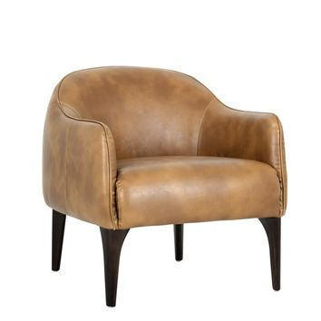 OTRISH TAN LEATHER OCCASIONAL CHAIR