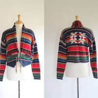 Vintage Sweater / 80s 90s Sweater / Striped Bolero Sweater / Southwestern Cropped Sweater / Tribal Ikat Sweater / Stefano International
