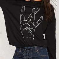 Black Palm Print Long Sleeve Sweatshirt