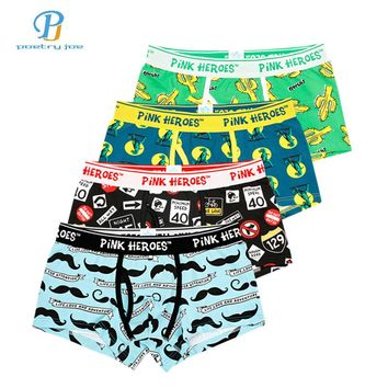 Pink Heroes 4pcs/lot Men Underwear Boxer Mens Underwear Cotton Roller Printing Colorsafe Boxers Cartoon Fashion Boxer Shorts
