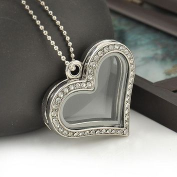 DCCKDZ2 Fashion Heart Magnetic Glass Floating Locket Memory Necklaces & Pendants Charm Chain Necklace Jewelry Accessories Free Shipping