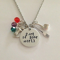 "Disney inspired Little Mermaid necklace ""part of your world"" Ariel hand stamped swarovski crystals charms"