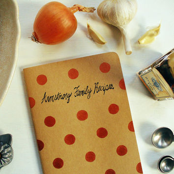blank recipe book - personalized family recipe book, moleskine notebook, metallic rose gold polka dots