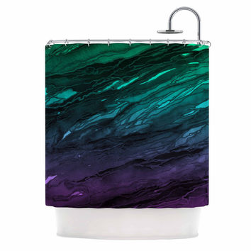 "Ebi Emporium ""Agate Magic - Green Plum Ombre"" Aqua Purple Shower Curtain"