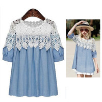 Lolita Denim Crochet Hollow out short puff sleeve women's Blouse Plus size Clothes Patchwork Tops Shirt