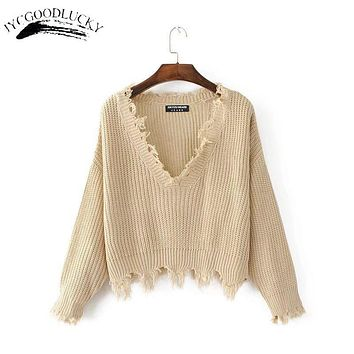 New Fashion 2017 Pullover Ripped Hole Sweaters Loose Jumper Casual White Sweater Women Knitting Sweaters Pull Long Sleev