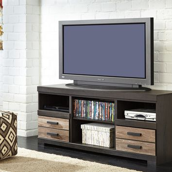 Ashley Furniture W325-68 Harlinton collection contemporary style warm grey finish wood tv stand
